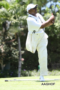 Jesse J. Parker tees it off at the President Country Club during the AAGHOF Celebration, May 2012